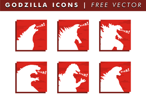 Godzilla Ikoner Gratis Vector