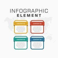 Bunte Infografikschablone der Elemente 4 für Geschäftsstrategie