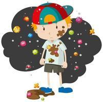 Junge mit Keimen und Schmutz bedeckt vektor