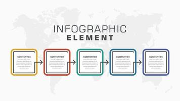 färgglad 5-steg infographic affärsflödesschema design vektor