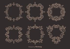 Brun Elegant Scrollwork Vektorer