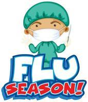 Grippesaison mit Arzt und Skalpell vektor