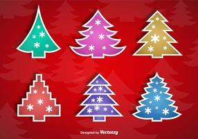 Julgrans klistermärken vektor