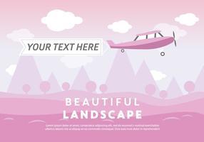 Free Beautiful Landscape Vector Backround mit Flugzeug