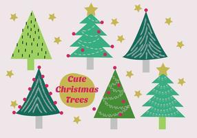 Gratis uppsättning julgranar vektor