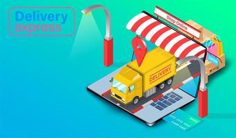 Lieferwagen fährt mit GPS aus dem Laptop