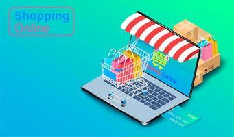 använder kredit för att shoppa online på bärbar dator vektor