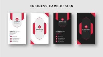 svartvita visitkortsuppsättning med röda accenter
