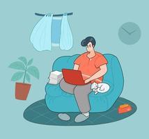 Mann im Karikaturstil, der bequem zu Hause arbeitet