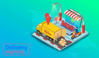lastbil och skoter leverans på bärbar dator med GPS