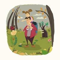 glückliche liebevolle Familienwanderung in der Natur