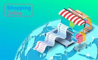 Online-Einkaufsbeleg kommt aus Laptop vektor