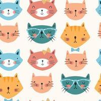 sömlösa mönster med färgglada katthuvuden vektor