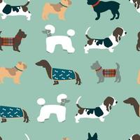 sömlösa mönster med hundar vektor
