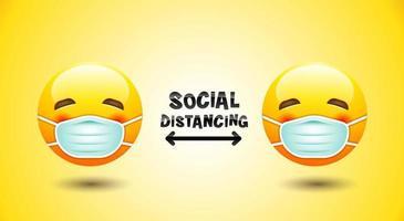 Emojis bleiben getrennt und tragen Gesichtsmasken vektor