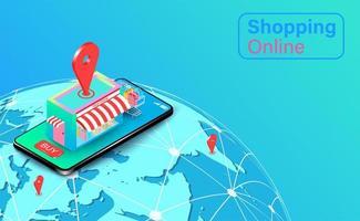 global shopping online på webbplats eller mobilapplikation vektor