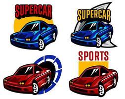 röd och blå sportbil uppsättning