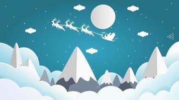 Santa im Schlitten fliegt über Berggipfel vektor