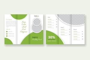 gesunde Restaurant dreifach gefaltete Broschürenvorlage