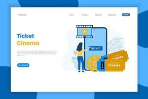 Online-Kinokarten Kauf Landing Page vektor