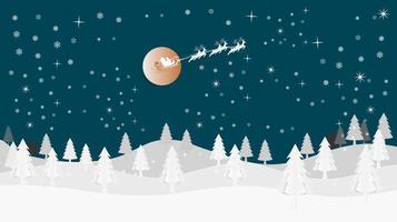 Santa fliegender Schlitten vor Vollmond vektor
