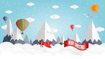 Flugzeuge und Luftballons über schneebedeckten Bergen