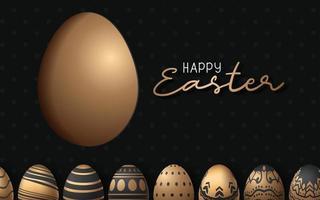 glücklicher Osterhintergrund mit realistischem Osterei mit großem Eientwurf vektor