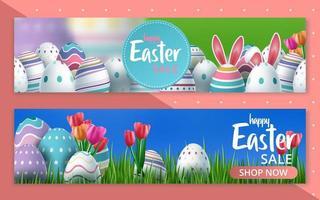 Satz Ostern Verkauf Blumen- und Ostereier Rabatt