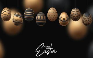 glücklicher Osterhintergrund mit realistischem Gold und schwarzem Design