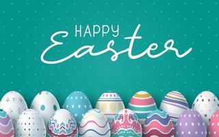 glücklicher ostergrüner Hintergrund mit bunten Eiern