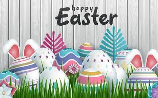 glücklicher Osterhintergrund mit realistischer Ostereier-Holztäfelung
