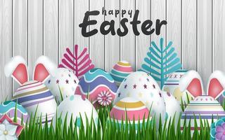 glad påskbakgrund med realistisk träpanel för påskägg