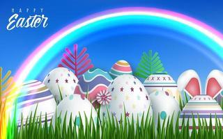 glücklicher Osternregenbogenhintergrund mit realistischen Ostereiern