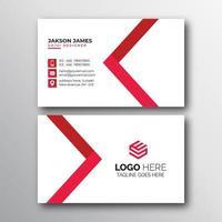 elegantes rotes und weißes minimalistisches Visitenkarten-Design vektor