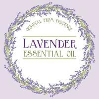 Etikett mit ätherischen Ölen aus Lavendelkranz vektor