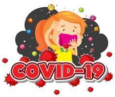 Covid 19 Zeichen Vorlage Mädchen und viele Viren vektor