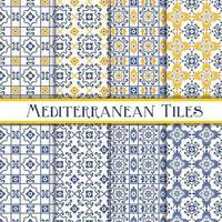 blaue und gelbe Fliesen im mediterranen Stil vektor