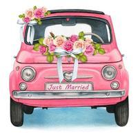 rosa Aquarell-Oldtimer mit Hochzeitsblumen vektor