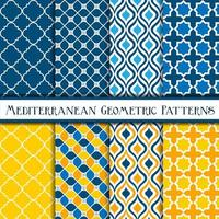 samling av medelhavsgeometriska mönster vektor
