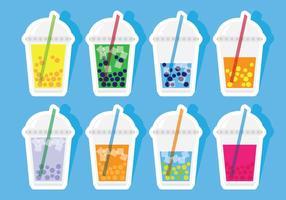 Bubbla Tea Stickers vektor