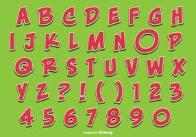 Gullig vattenmelonstil Alfabet Set vektor