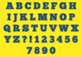 Blåstyg alfabetet set vektor