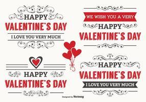 Typografiska Alla hjärtans dag etiketter