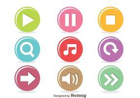 Färgglad musikspelare Cirkelknapp vektor