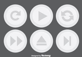 Ljusgrå media knapp vektor
