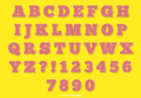 Rosa Stich Stil Alphabet gesetzt vektor