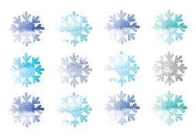 Vektor vattenfärg snöflingor