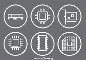 Mikrochip-ikoner vektor