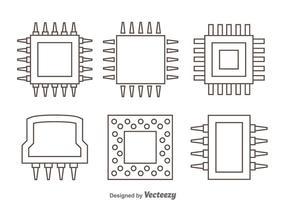 Microchip Outline Ikoner vektor
