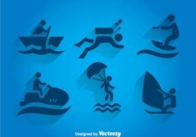 Vatten Sport Våg Ikoner vektor